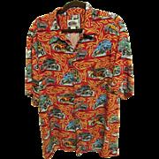 """SALE Reyn Spooner """"Art of Eddy Y"""" Hot Rod Aloha Shirt, 100% Rayon, Size XXL"""