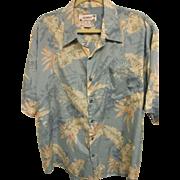 SOLD Vintage Bird-of-Paradise, Hibiscus, Palm Leaf Hawaiian Print Aloha Shirt, Size XL