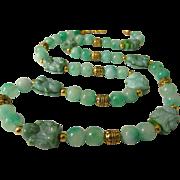 "SALE Czech Glass Little Buddha Monk Charms with Green Kunzite Bead Necklace, 24"""