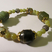 Chinese Carved and Etched Jade Bead Expandable Bracelet