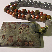 Spotted Grey Agate Pendant with Grey Tourmaline and Gold Tone Bead Necklace, 23""