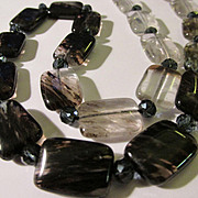 Graduated Black to Clear Tourmaline Tile Necklace, 19""