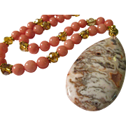 SALE Crazy Lace Agate Teardrop Pendant with Pink Chrosite and Crystal Bead Necklace, 21""