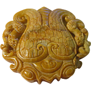 Chinese Yellow Jade Collectible Paperweight with Double Dragon Motif