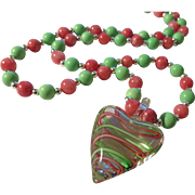 Pink and Green Striped Heart Pendant with Pink Rhodochrosite and Green Turquoise Bead Necklace