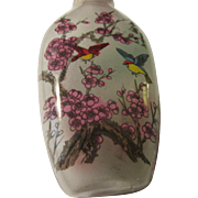 SALE Chinese Reverse Hand-Painted Glass Snuff Bottle of Birds, Cherry Blossoms, and Pine Tree