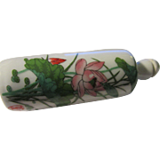 Chinese White Ceramic Snuff Bottle with Painted Water Lily and Peony Blossom
