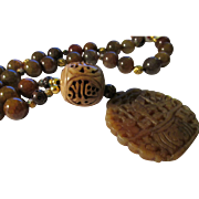 """Lacey Serpentine Jade Pendant with Dragon Vein Agate and Vintage Wood Bead Necklace, 23"""""""