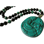"""Turquoise Howlite Kwan Yin Pendant with Black Onyx and Green Malachite Bead Necklace, 24"""""""