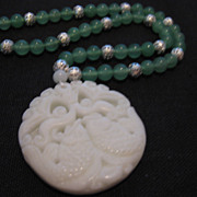 """SALE Carved Double Fish White Jade Pendant with Green Jade Bead Necklace, 19"""""""