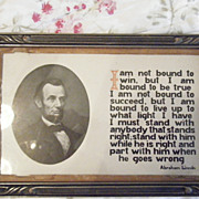 SOLD Antique Abraham Lincoln Picture and quote  Possible Civil War era