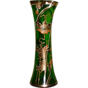 SALE Josephinenhuette glass Gorgeous Art Nouveau decorated vase with clover shaped mouth