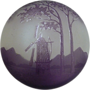 Kralik Cameo glass box with windmill and mountains