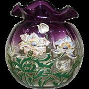 SALE Legras Jardiniere Thais Anemones Violetinne glass vase