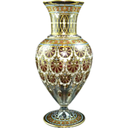 Lobmeyr glass vase Islamic design Red Palmette