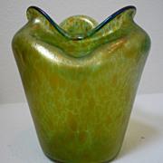 Loetz Crete Papillion glass vase with pinched form