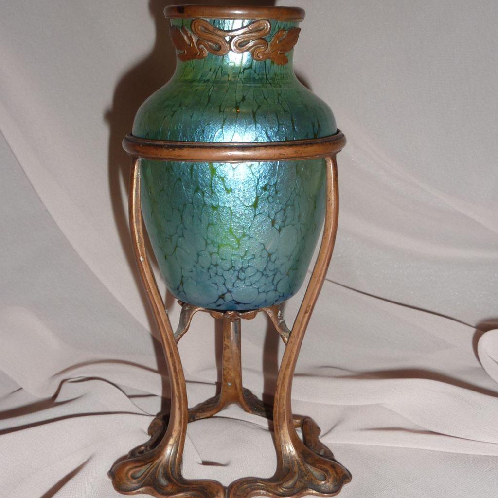 Loetz Crete papillion glass vase Art Nouveau metal mounting