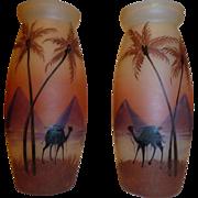 SALE Pair of Palda Desert Scene vases Czech glass