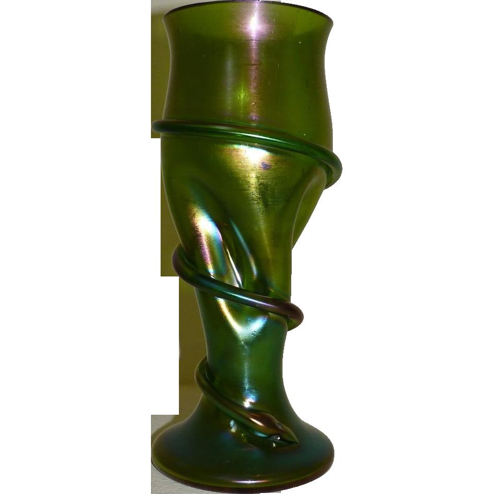 Rindskopf Tall iridescent glass vase with Snake