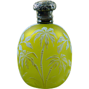 Webb Cameo glass perfume citron and white. Bamboo and palm pattern
