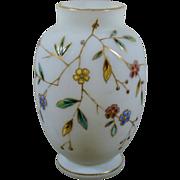 Custard lusterless uranium glass vase with gilded flowers