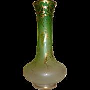 Art Nouveau Green glass acid cut back Cameo style glass vase Large!