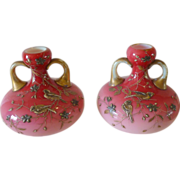 Harrach Peachblow Matched pair pink cased gilded birds