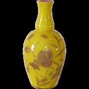 Harrach imperial yellow lovebird glass vase cased
