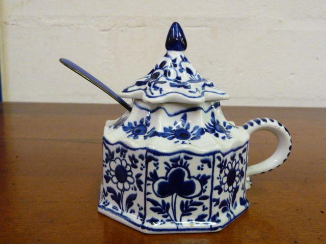 *Reduced 65% - Winterhur Adaptation Mottahedeh Jam Pot with Blue Enamel & Sterling Spoon