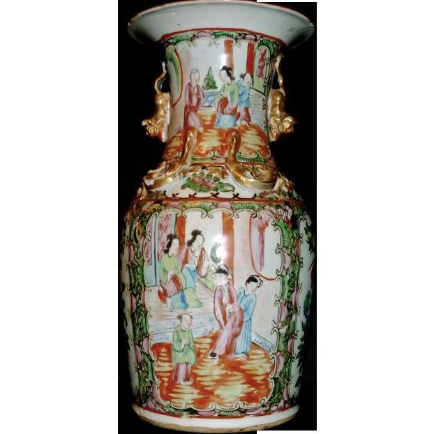 Paris Porcelain Hand Decorated Vase Fitted For Lamp Pia: ***CLEARANCE -Antique Rose Medallion Canton Porcelain Vase