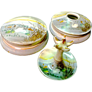 SALE *Final Clearance ~Hand Painted Nippon Dresser Set ~Powder, Hair Receiver, Ring Holder