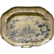SALE * Reduced  ~ Antique Staffordshire Platter Asian Figures with background Transferware Pla