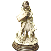 *Reduced 25% ~Capdimonte Figurine of a Girl wrapped in Coat and her Dog