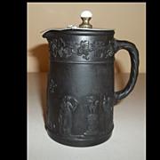 Wedgwood Black Basalt Jasperware W/  Pitcher Pewter Lid