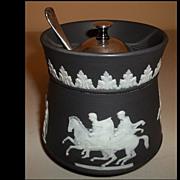 Wedgwood Black Basalt Jasperware Condiment / Sugar Lidded Bowl w/ Spoon