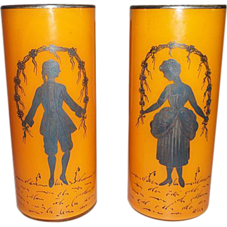 Pair Czech Orange/Tangerine Silhouette Vases   6 1/8""
