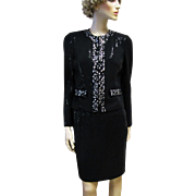 St John Black Knit Paillettes and Crystal Evening Jacket and Skirt- S