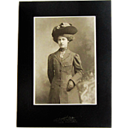Edwardian ''Upper Class'' Young Lady Cabinet Card Boston, MA