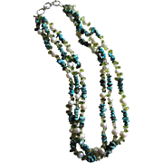 Three Strand Turquoise, Quartz, Peridot, and Baroque Pearl Necklace.