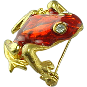 SOLD Adorable Gold Tone Red Glass FROG Brooch/Pin