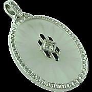 Art Deco Platinum Camphor Glass & Rhinestone Enameled Pendant