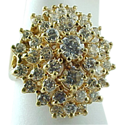 SALE Beautiful 14 K Yellow Gold Diamond Cocktail Ring ~ 2 Carats Diamonds