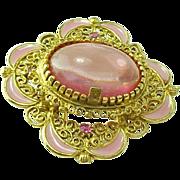 Vintage Pink Glass, Enamel & Rhinestone Brooch