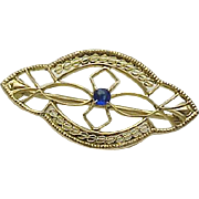 10K Yellow Gold Delicate Sapphire Brooch