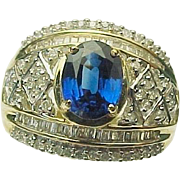 14K Yellow Gold 2.00 Carat Sapphire & 1.00 Carat Diamond Ring ~ Circa 1995.