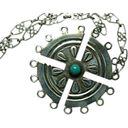 Pre 1950 Taxco 980 Sterling Silver and Turquoise Necklace