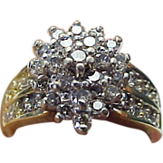 Vintage 1.00 Carat Diamond Cluster Ring
