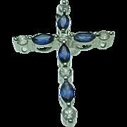Vintage 10K Blue & White Sapphire Cross