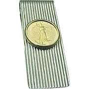 Sterling Silver/Gold Liberty 1/10 Oz Coin Money Clip