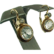 Early Victorian Diamante Earrings, 14k Gold Rose Gold